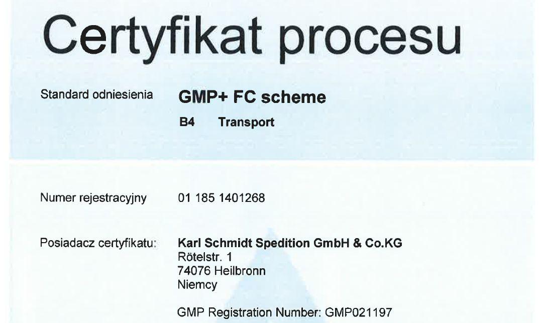 GMP+ SCHMIDT Polska Audit